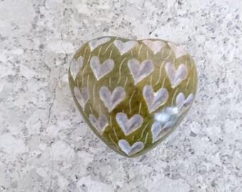 Love Heart, Engraved Stone Love Heart, Wedding, Engagement, Birthday, Love, Green, Anniversary, Gift