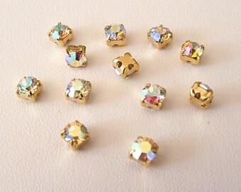 Crystal AB Rhinestones, 4.6mm, Lot of 12, SS19, Swarovski Chaton Montees, SS19, Sew On Rhinestones