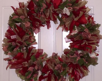 """Country themed 16"""" ribbon wreath"""