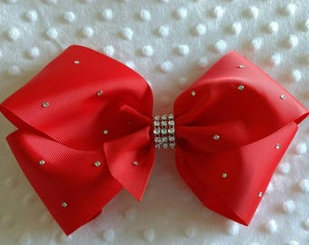 "Large 8"" poppy Red Boutique Hair Bow with Rhinestones like JoJo Siwa Bows Signature Keeper Dance Moms Christmas Eve box gift stocking filler"