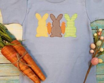 Little Boy's Easter Rabbit and carrots romper, Free Monogram name, bubble, Newborn, Toddler