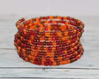 Autumn - transparent brown, red and orange glass beads memory wire bracelet