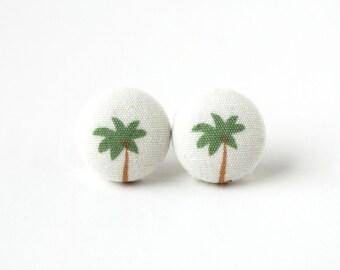 Palm tree button earrings - beach fabric earrings - summer stud earrings - white green - tropical earrings - fun earrings - quirky earrings