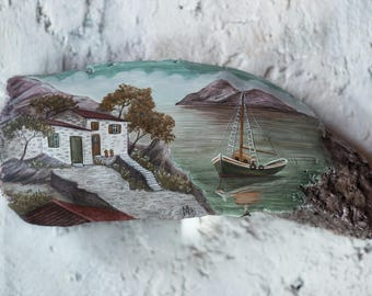 Seascape - Painting on driftwood