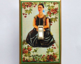 Colorful Frida Switchplates with MATCHING SCREWS- Frida Kahlo art prints Frida wall decorations Frida shrine Frida switch covers frida art