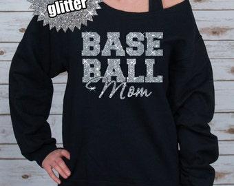 GLITTER Baseball Mom Block Off Shoulder Raw Edge Sweatshirt for Women, Baseball Mom Shirt, Baseball Tee, Baseball Shirt (562MR Black)