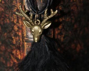 Black deer necklace