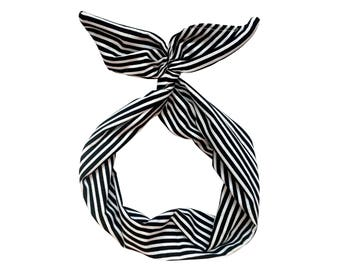 Black and White Stripe Wire Headband-Top Knot Headband, Turban Boho Headband, Yoga Headband, Baby Turban, Head Wrap, Boho Headband,