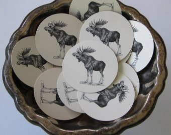 Moose Tags Round Gift Tags Set of 10
