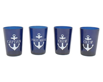 Blue Anchor Drink Cup Set, Captain and First Mate Cups, Boat Owner Gift, Father's Day Gift, Gifts for Guys, Husband Gift, Nautical Cups