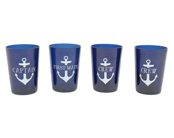 Captain/First Mate/Crew 4 Cup Plastic Drinkware Set