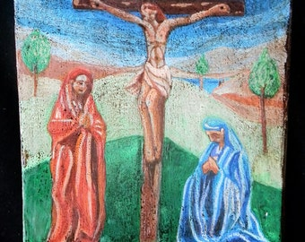 Hand Painted Crucifixion