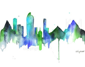 Watercolor Painting Denver Colorado Skyline Print Wall Art Abstract Painting Minimalist Large Wall Art Housewarming Gift Mountain Art