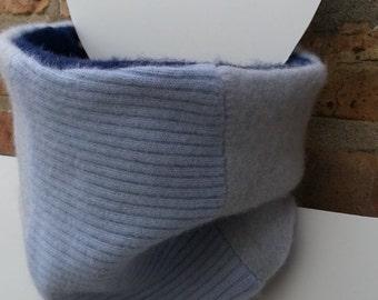 Neckwarmer, Cashmere Neck warmer, Gaiter, Upcycled Shades of Blue Navy
