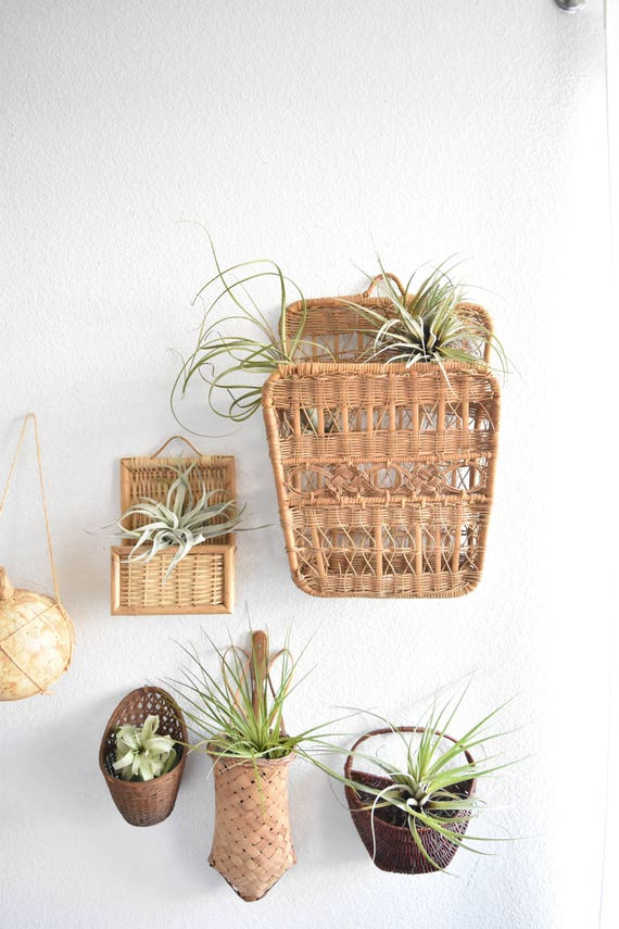 large woven wall hanging basket with intricate weave / storage pocket