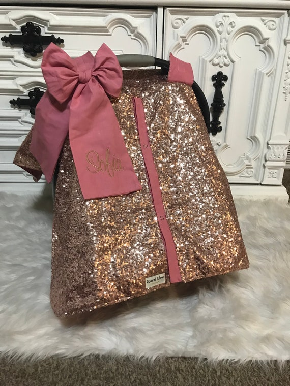 Car seat cover ,Rose Gold and Blush , comes with jumbo bow and name