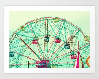 Boy nursery decor boy nursery wall art boy, canvas art, coney island, large art, large wall art, ferris wheel art, modern nursery,