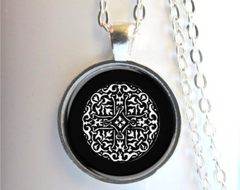 Celtic Knot Pendant, Celtic Necklace, Black And White Celtic Knot, Art Pendant