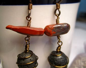 Essential Oil Lava Bead Diffuser Earrings, Red Jasper