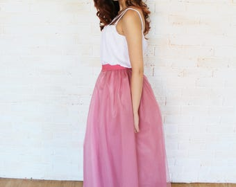 Rose tulle skirt, tutu skirt, bridesmaid dress, bridesmaid skirt