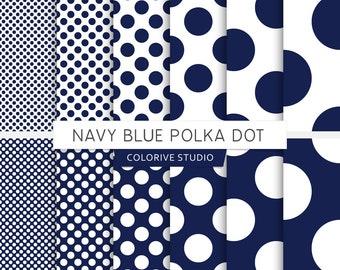 Navy Blue Polka Dot digital paper, blue, small polka dot, big polkadot, circles, dotted, scrapbook papers (Instant Download)