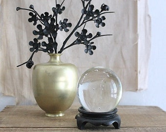 Small Vintage Clear Glass Paperweight