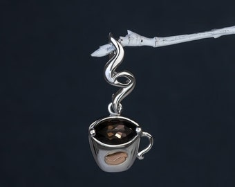 MINI GIFT for her ideas COFFEE cup beautiful pendant Sterling Silver 925 Gems Smoky quartz Silver mixed plating Vintage  Kaffee café