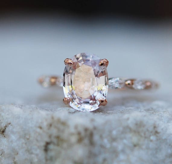 Oval Rose Gold Engagement Ring Peach sapphire engagement ring One of a kind ring Sapphire Engagement ring Godivah design by Eidelprecious
