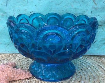 Blue glass compote . L E Smith moon and stars vintage bowl. Pressed glass collectible cobalt blue pedestal bowl. Collectible glass