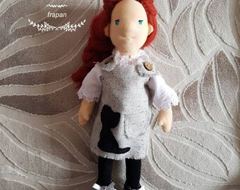"17"" Natural Fiber Art Doll, Waldorf Inspired Doll, Cloth Doll, Collectible, OOAK, Handmade"