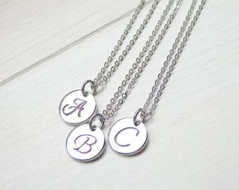 Minimalist Silver Monogram Necklace - Letter Necklace - Initial Necklace