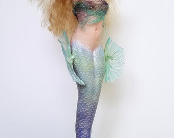 OOAK Hand Sculpted Mermaid with Blue and Green Tail and Fins and Gem Tiara