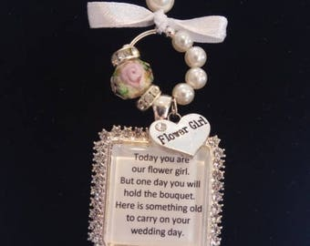 Flower Girl or Bridesmaid Charm for Weddings - Square Diamante