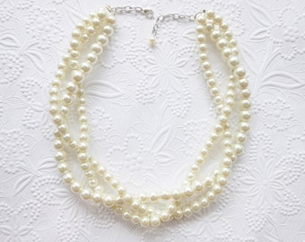 Ivory Pearl Necklace, Pearl Statement Necklace, Wedding Necklace, Bridal Necklace