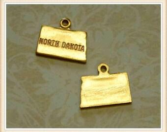 North Dakota 12 pcs raw brass state charm ND