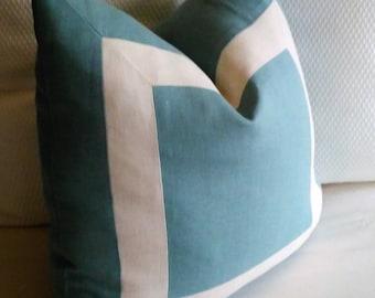 Blue Ivory Euro Sham Pillow Cover Dusty Blue and Off White Linen 24x24 26x26 Eurosham