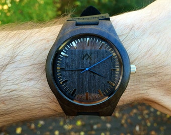 Mens Ebony Wood Watch With Custom Engraving, Wooden Watch for Him, Gift for Him, Mens Wood Watch, Personalized Wood Watch, Wedding Gift