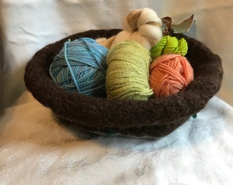 Chocolate Bowl, felted,  handknit, wool, mohair