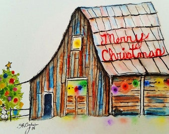 NEW, Christmas on the Farm, Original watercolor and ink