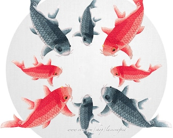 1 Pc Red Cyan Carp Lace Fish Trim Embroidery Appliques Patch Sewing on Applique for costume design