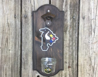 Pittsburgh Pirates Penguins Steelers Rustic Wall-mounted Bottle Opener