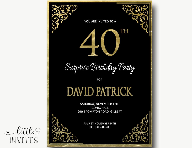 40th Birthday Invitation/Ornate/gold white black/male birthday