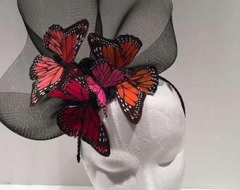 Butterfly Fascinator -Tea Party Fascinator -Butterfly Hat- High Tea- British Derby Fascinator- Wedding- Mom Fascinator -