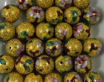 14mm Yellow Cloisonné Bead (2 Pcs)  #1517