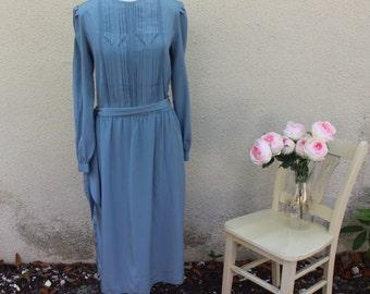 Stellar Nights Dress | 80s Blue-Grey Victorian Style Midi Dress | Secretary | Teacher | Long Sleeve | Mod | M