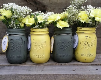 Neutral painted jars etsy gray and yellow distressed mason jars with personalized tagsgender neutral baby shower decorrustic wedding decorrustic decorset of 4 junglespirit