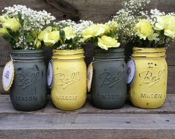Neutral painted jars etsy gray and yellow distressed mason jars with personalized tagsgender neutral baby shower decorrustic wedding decorrustic decorset of 4 junglespirit Image collections