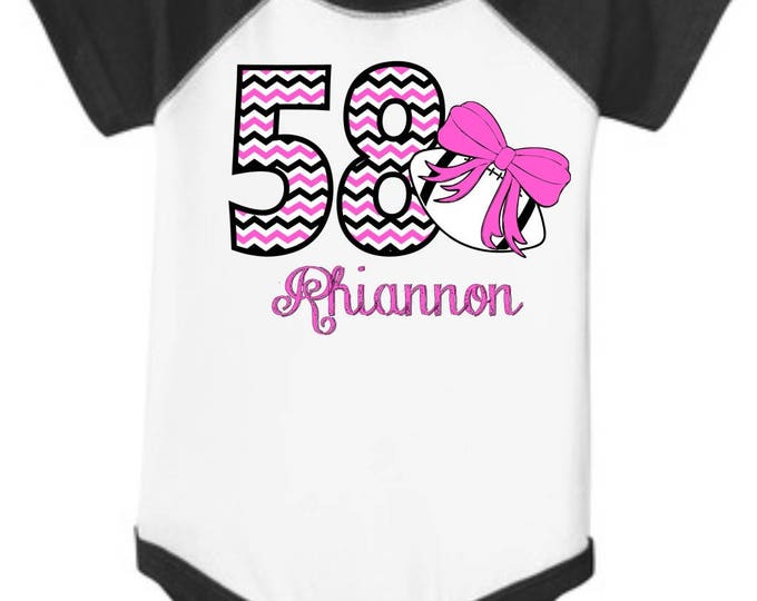 """Personalized Baby Girl's Football RAGLAN Onesie One-piece body suit with """"Chevron"""" Number, Name, and Print Color of your choice"""