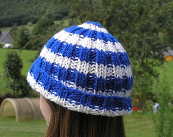 Cap wool sailor man with stripes in shades of blue and white gift father's day