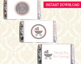It's A Girl Baby Mini Hersheys Candy Bar Wrappers, Printable Pink Baby Carriage Shower Favors Labels, Candy Sticker Label Wraps